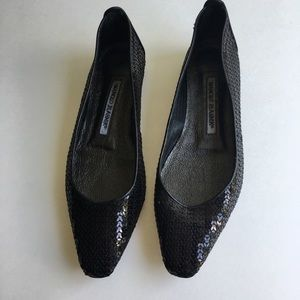 Manolo Blahnik Shoes - Manolo Blahnik Black Sequin Ballet Flats Size 36.5